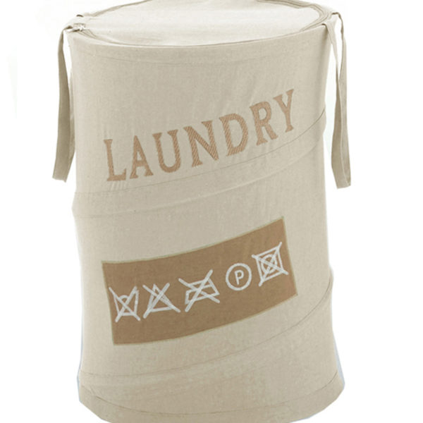 Cesto portabiancheria serie Laundry Gedy ecrù