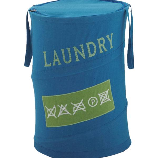 Cesto portabiancheria serie Laundry Gedy azzurro