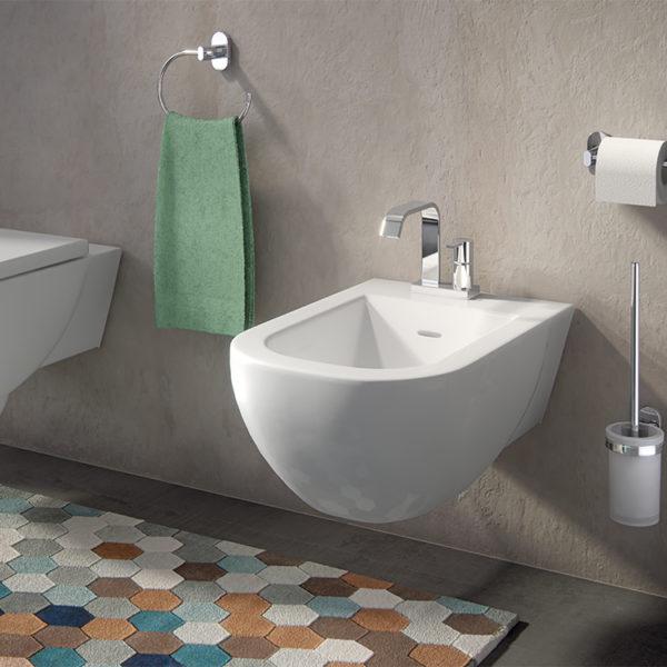 Scopino WC da muro con ciuffo in setole serie Febo Gedy
