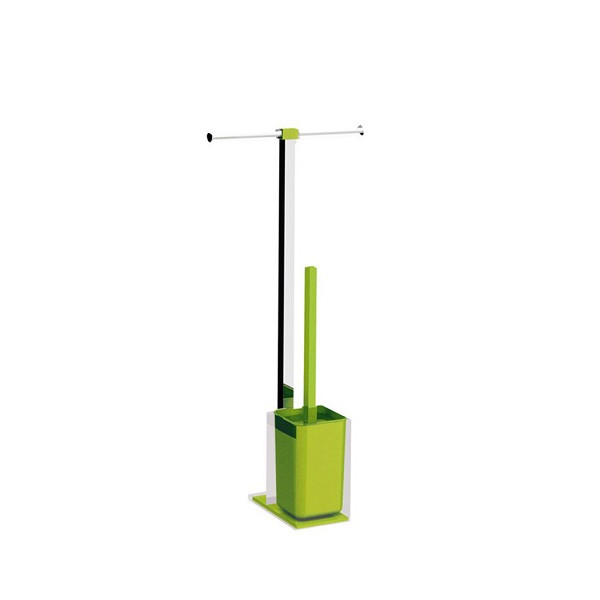 Colonnina portarotolo e scopino WC acciaio inox e resine termoplastiche serie Rainbow Gedy Verde acido trasparente