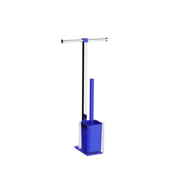 Colonnina portarotolo e scopino WC acciaio inox e resine termoplastiche serie Rainbow Gedy Blu Trasparente