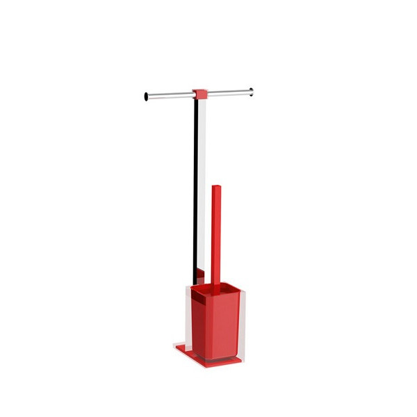 Colonnina portarotolo e scopino WC acciaio inox e resine termoplastiche serie Rainbow Gedy Rosso Trasparente