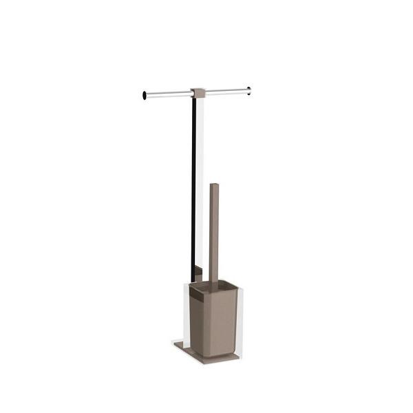 Colonnina portarotolo e scopino WC acciaio inox e resine termoplastiche serie Rainbow Gedy Tortora trasparente