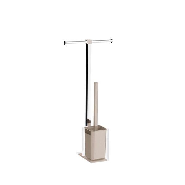 Colonnina portarotolo e scopino WC acciaio inox e resine termoplastiche serie Rainbow Gedy Tortora chiaro trasparente