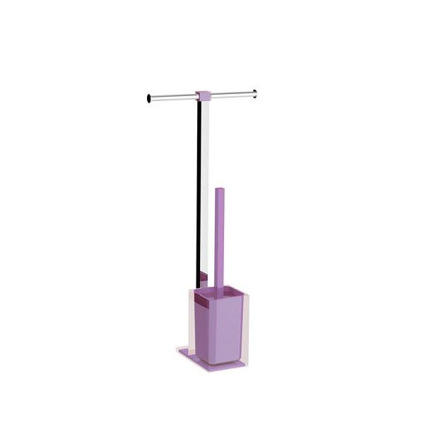 Colonnina portarotolo e scopino WC acciaio inox e resine termoplastiche serie Rainbow Gedy Lilla Trasparente