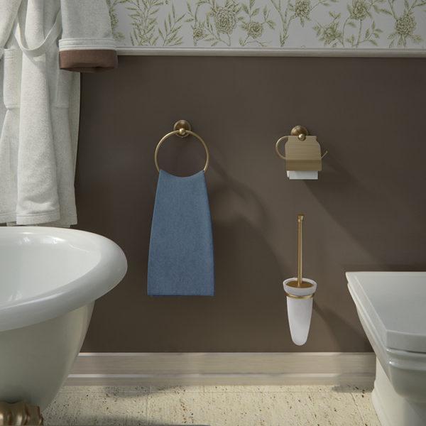 Scopino WC d'appoggio con ciuffo in setole serie Romance Gedy 7533
