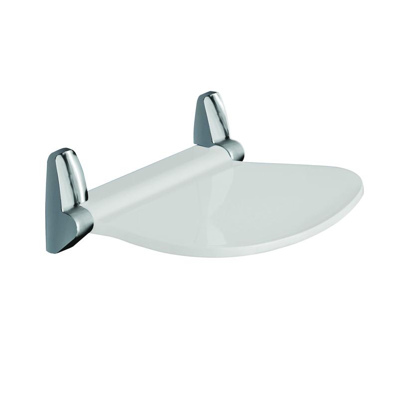 Sedile per doccia ribaltabile serie Sound Bianco e cromato