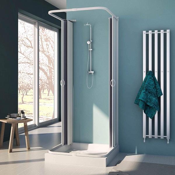 Box doccia a tre lati apertura centrale ante a soffietto in PVC riducibili