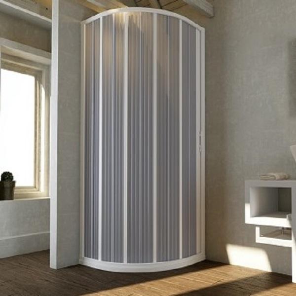 Box doccia semicircolare ante a soffietto riducibili in PVC apertura laterale