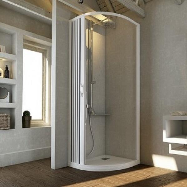 Box doccia con ante a soffietto riducibili in PVC apertura centrale