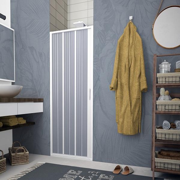 Porta doccia a soffietto per box doccia nicchia con apertura laterale in PVC