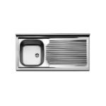 Lavello inox da mobile cm 100 con scolapiatti gocciolatoio a destra