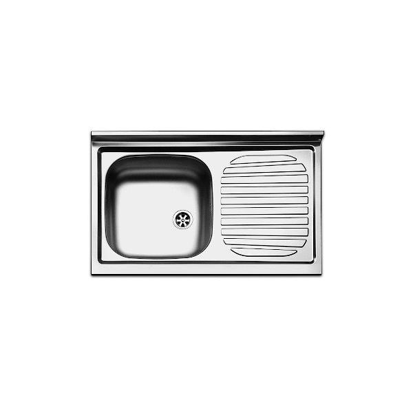 Lavello inox da incasso cm 86 con scolapiatti gocciolatoio a destra
