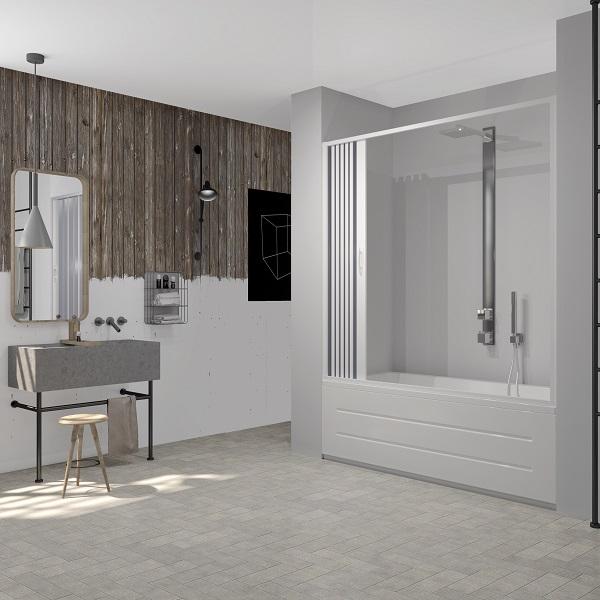 Porta vasca a soffietto in PVC per vasca nicchia con apertura laterale