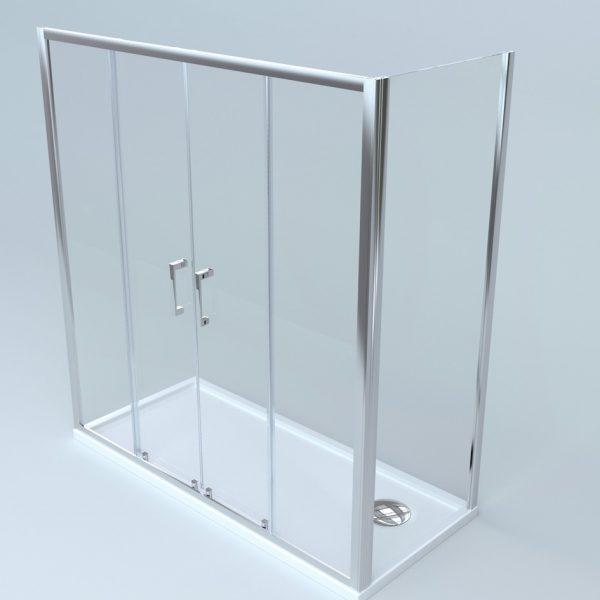 Box doccia 2 lati fisso + porta scorrevole apertura centrale